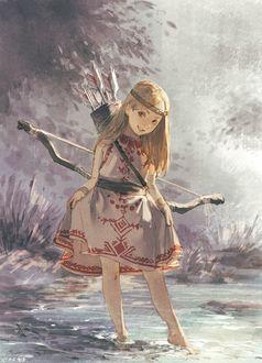 Фото Маленькая охотница с луком и стрелами за спиной стоит в воде, by rakugaki300page