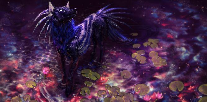 Фото Крылатый волк стоит в пруду, by NukeRooster