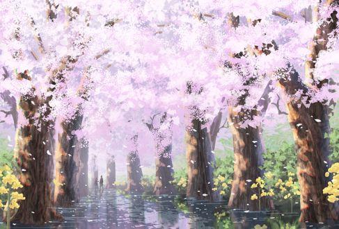 Фото Дети на аллее с весенними цветущими деревьями