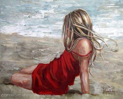 Фото Девушка сидит на песке, by Maria Magdalena Oosthuizen