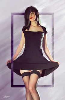Фото Девушка в платье и чулках