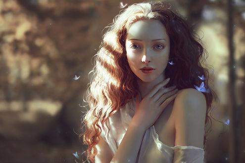 Фото Милая девушка в окружении бабочек, by ChubyMi