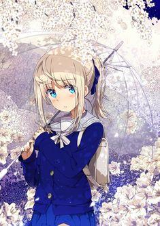 Фото Девушка в школьной форме держит прозрачный зонт, by Оgipote