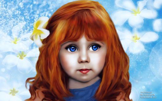 Фото Портрет рыжеволосой девочки с голубыми глазами с цветком на волосах, by Margarita Kobzareva