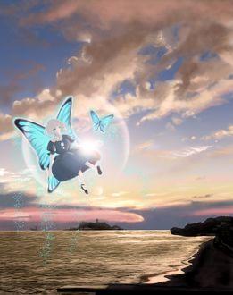 Фото Крылатая девушка и бабочка внутри пузыря, by つぐ(ん)