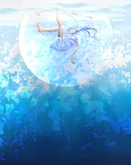 Фото Девушка внутри пузыря опускается под воду, by saya