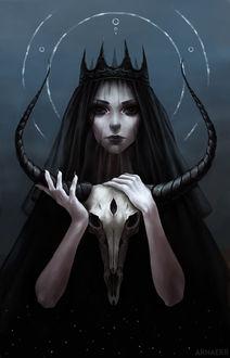 Фото Девушка в черном держит в руках рогатый череп, by arnaerr
