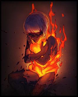 Фото Девушка обнимает огонь, by mcptato