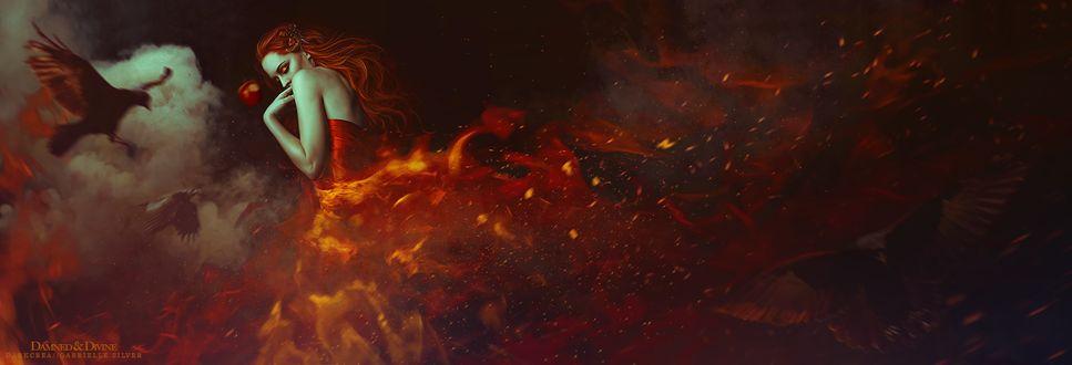 Фото Девушка в огненном платье стоит перед яблоком и вороном в дыму, by DarkCrea