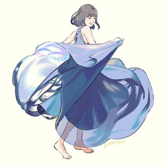 Фото Девушка в голубом платье