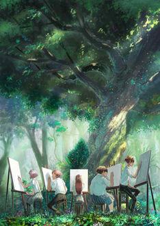 Фото Люди рисуют натюрморты у дерева