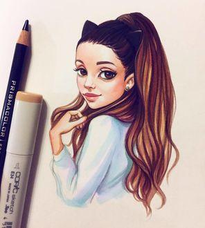 Фото Рисунок девушки с длинными волосами, карими глазами, с ушками