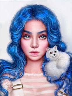 Фото Девушка с длинными голубыми волосами и голубыми глазами, с белым животным, by Маргарита Никки