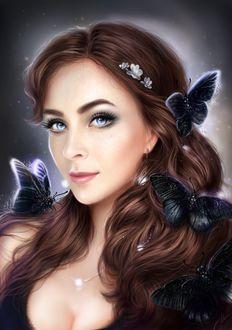 Фото Девушка с бабочками на волосах, by Маргарита Никки