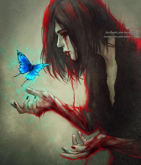Фото Девушка смотрит на синюю бабочку, by NanFe
