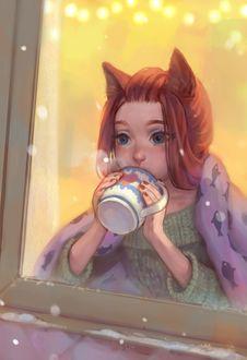 Фото Девушка с ушками с кружкой горячего чая смотрит в окно на падающий снег, by Mireys