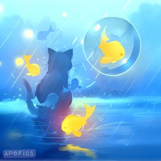 Фото Кошка под дождем, by Apofiss