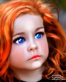 Фото Портрет рыжеволосой девочки с голубыми глазами, by Margarita Kobzareva