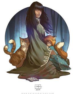 Фото Девушка с кошкой и лисенком
