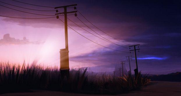 Фото Дорога вдоль столбой с линиями передач