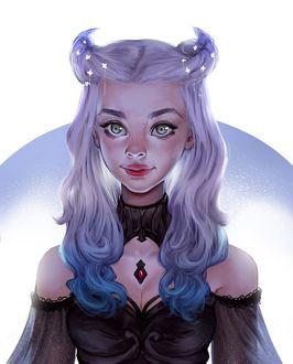 Фото Девушка демон с бело-голубыми волосами в черной одежде, by Iruuse