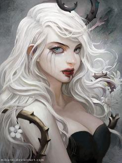 Фото Девушка с белыми волосами, запутанными в стебле с шипами, by mikurei