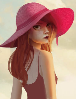 Фото Девушка в широкополой розовой шляпе, by sadiek