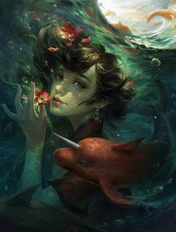 Фото Девушка с цветами и плавающим рядом волшебным дельфинчиком, by Su Fu