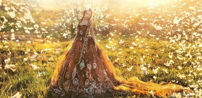 Фото Девушка с косами в длинном платье в окружении перьев на фоне природы