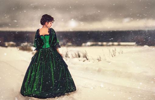 Фото Девушка в длинном платье к нам спиной под падающим снегом, фотограф Мария Йылмаз