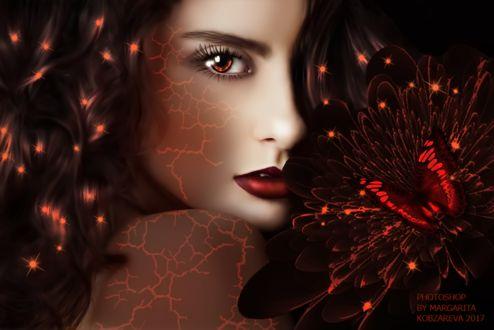 Фото Портрет девушки со светящимися венами на коже с цветком и бабочкой, by Margarita Kobzareva