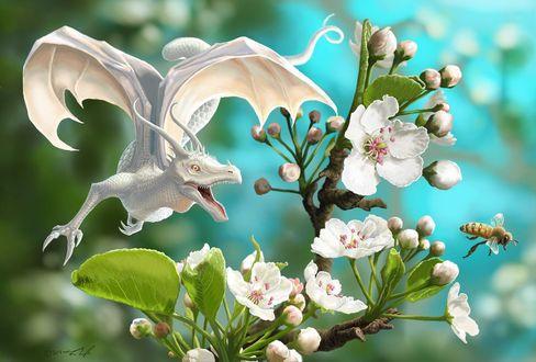 Фото Белый дракон и пчела у ветки цветущей вишни, by jaxxblackfox