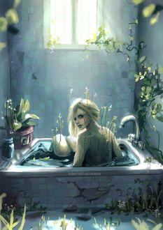Фото Девушка, из тела которой пробиваются ростки, сидит в ванне, by INTERNETTprincess (© chucha), добавлено: 20.04.2017 10:56