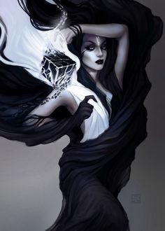 Фото Девушка окутанная черной вуалью держит над плечом черный куб, by exellero (© Баюшка), добавлено: 20.04.2017 11:03