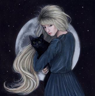 Фото Девушка с черным котом стоит на фоне полной луны, by Liancary-art (© zmeiy), добавлено: 20.04.2017 15:13
