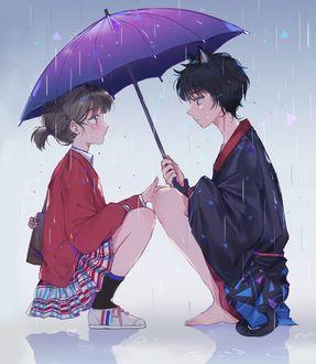 Фото Девушка и парень-кот сидят под зонтом, art by dangmill