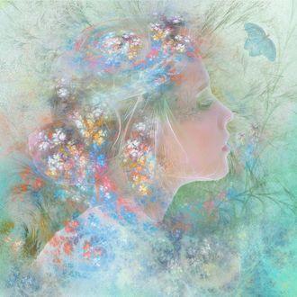 Фото Девушка в профиль с цветами и бабочкой, by Nataliorion