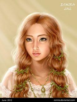 Фото Красивая зеленоглазая девушка с урашениями и листьями на волосах, by Esmira-Art