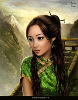 Фото Красивая девушка шатенка на фоне гор, by Esmira-Art