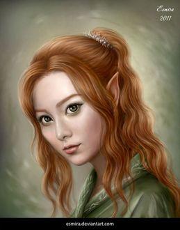Фото Красивая рыжеволосая девушка с украшениями на волосах, by Esmira-Art
