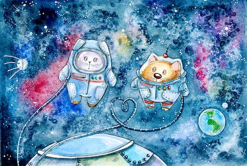 Фото Котик и кошечка в открытом космосе, иллюстратор Кристина Крокус