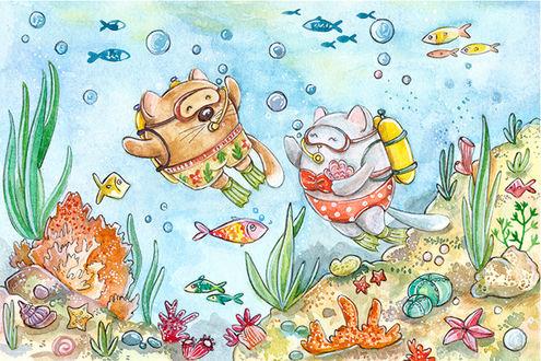 Фото Котик и кошечка плавают под водой, иллюстратор Кристина Крокус