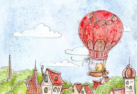 Фото Котик и кошечка летят на воздушном шаре, иллюстратор Кристина Крокус