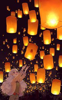 Фото Девушка запускает в ночное небо горящий фонарик, by Semcool