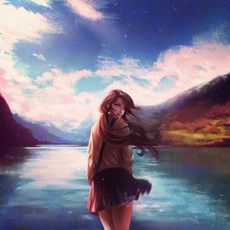 Фото Девушка стоит у воды на фоне гор, by Axsens