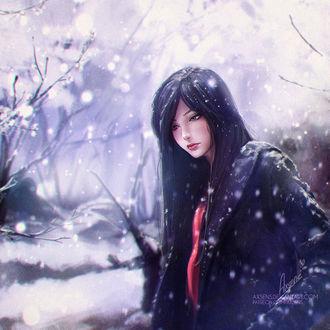 Фото Темноволосая девушка стоит среди деревьев под падающим снегом, by Axsens
