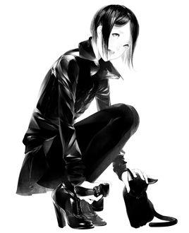 Фото Девушка гладит черную кошку, by 爽々