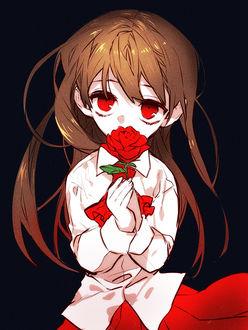 Фото Девочка с красными глазами и красной розой в руках (© zmeiy), добавлено: 21.04.2017 13:55