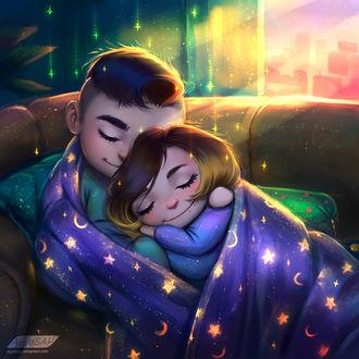 Фото Спящие улыбающиеся влюбленные, art by ayyasap