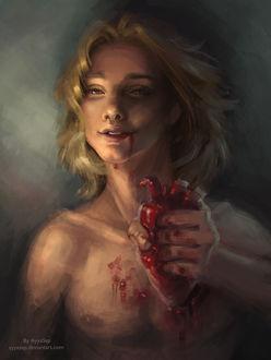 Фото Светловолосый парень, испачканный кровью, держит в руке сердце, art by ayyasap